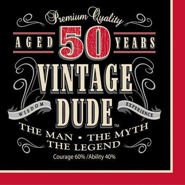 Vintage Dude 50th Birthday Lunch Napkins