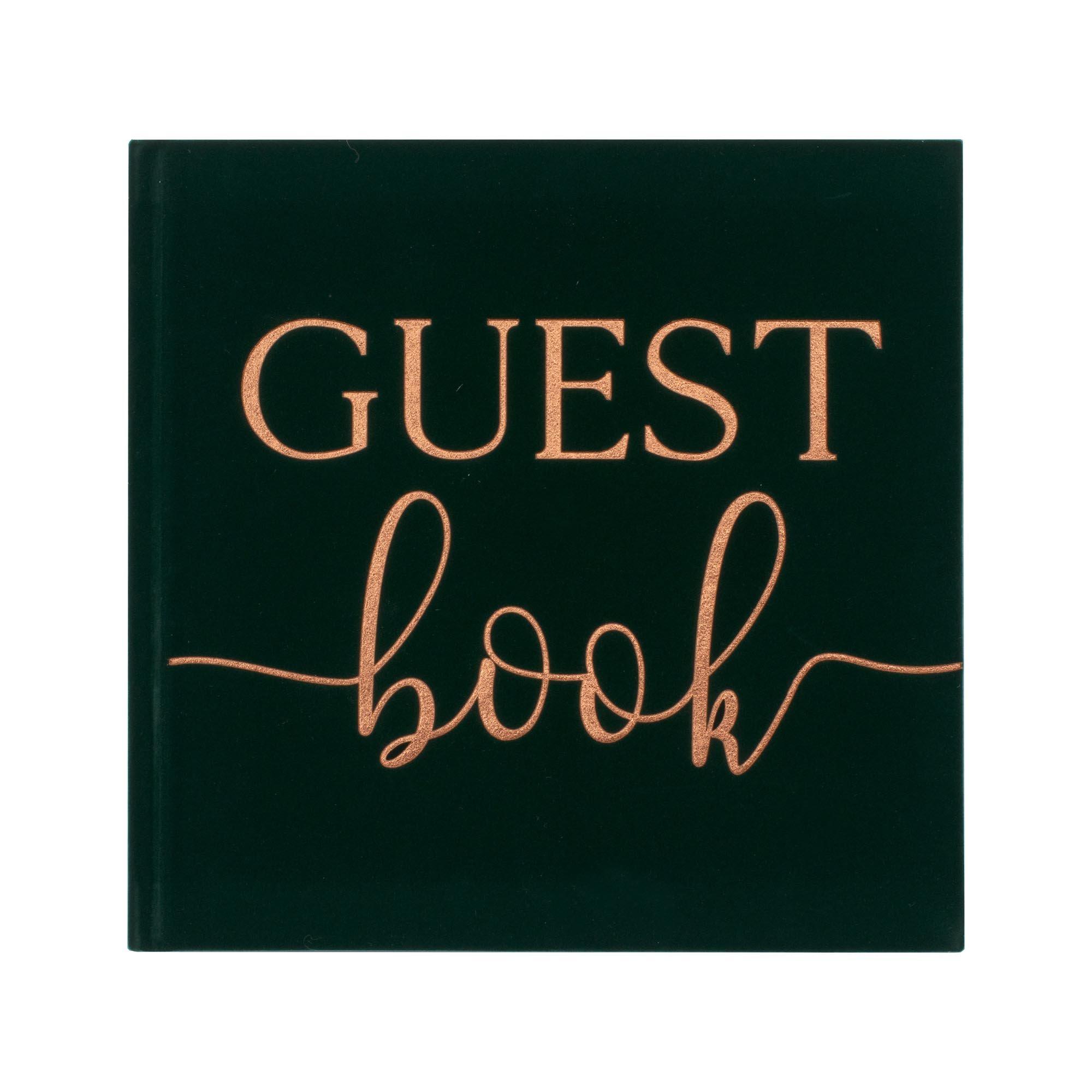 Botanical Wedding Green Velvet Bronze Foiled Guest Book