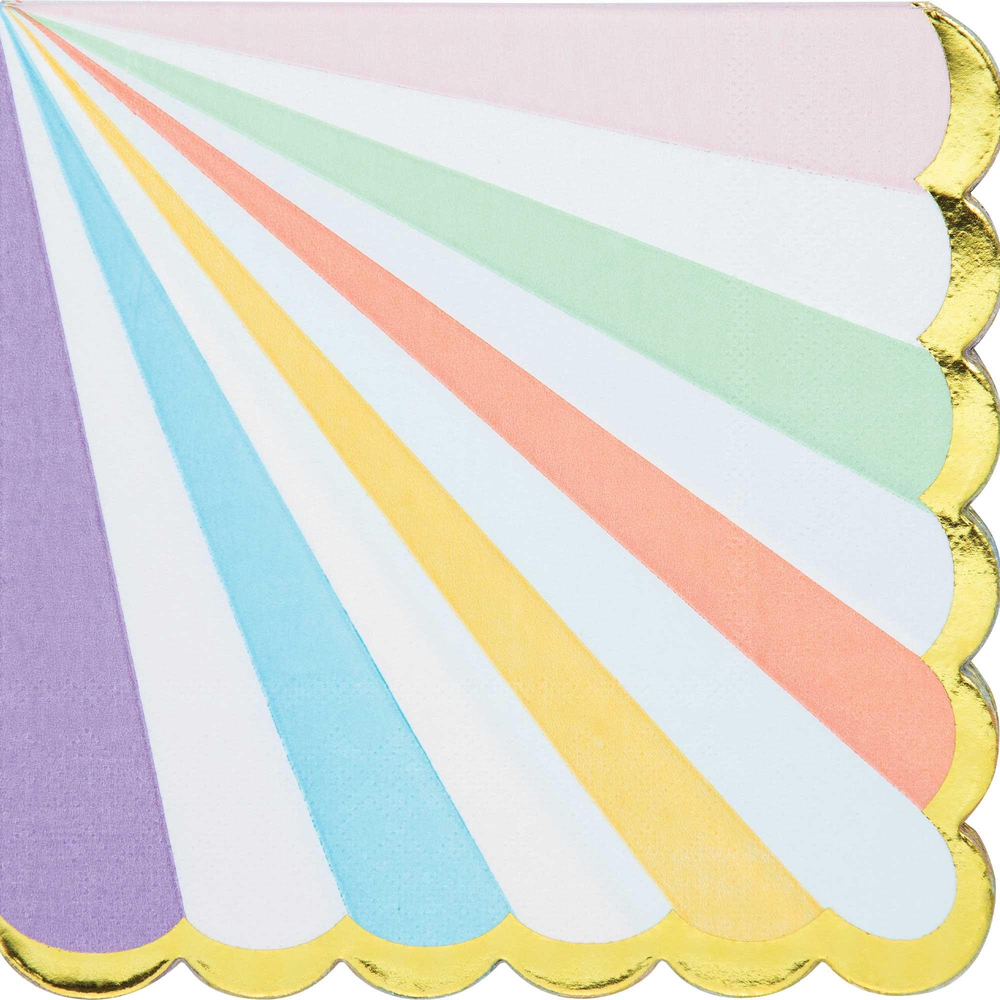 Pastel Celebrations Lunch Napkins Scalloped & Gold Foil
