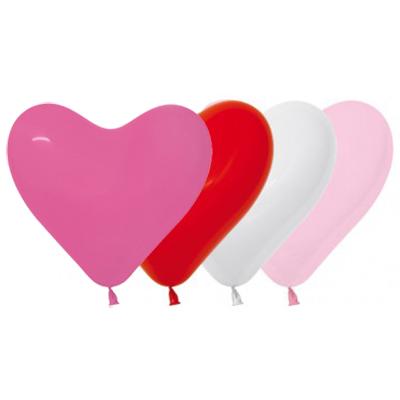 Sempertex 15cm Hearts Love Fashion Assorted Latex Balloons, 50PK