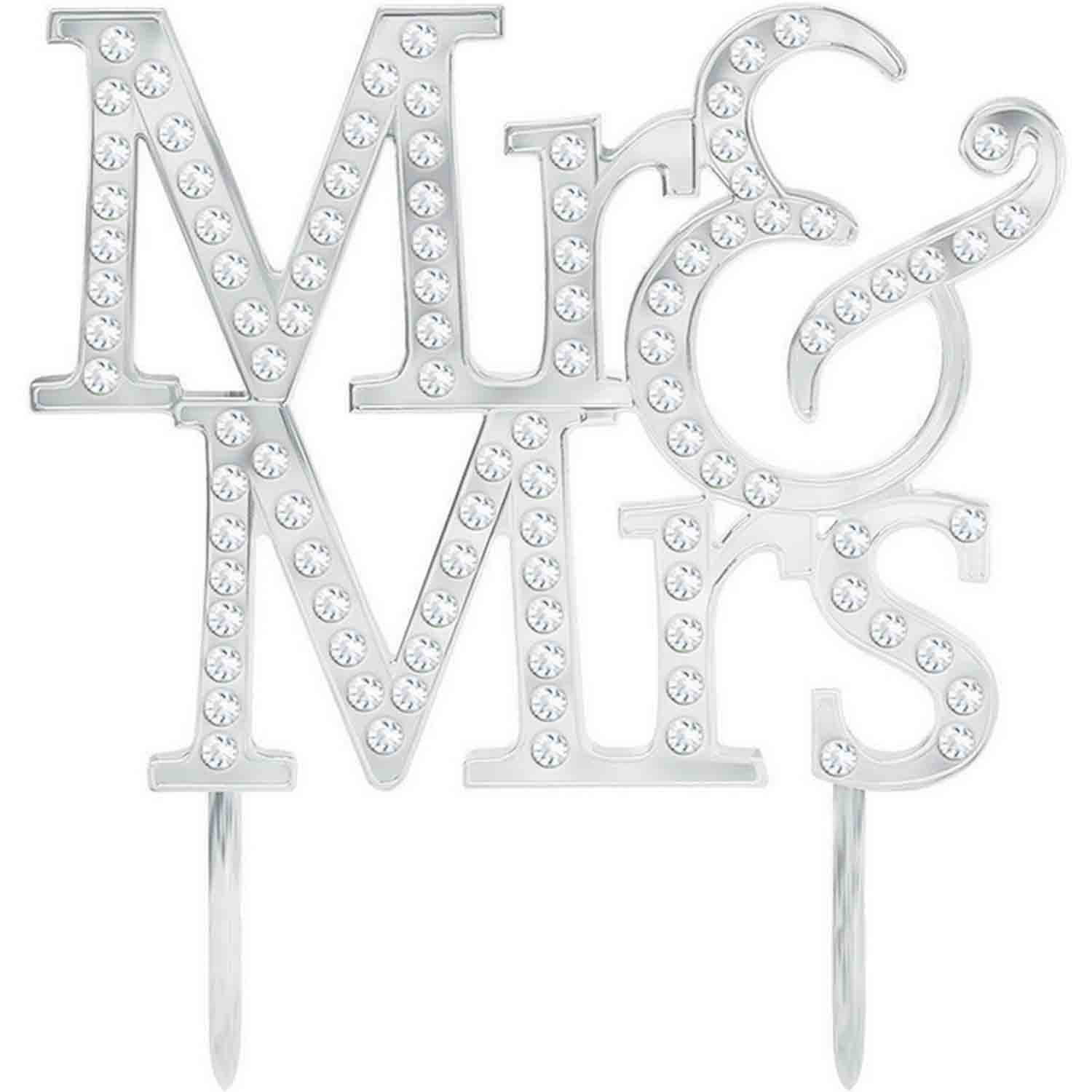 Cake Topper Mr. & Mrs Plastic with Gems