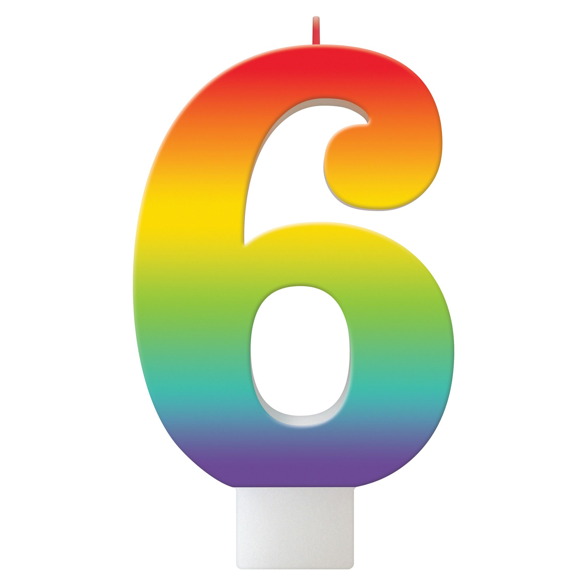 Birthday Celebration Rainbow Candle Number #6
