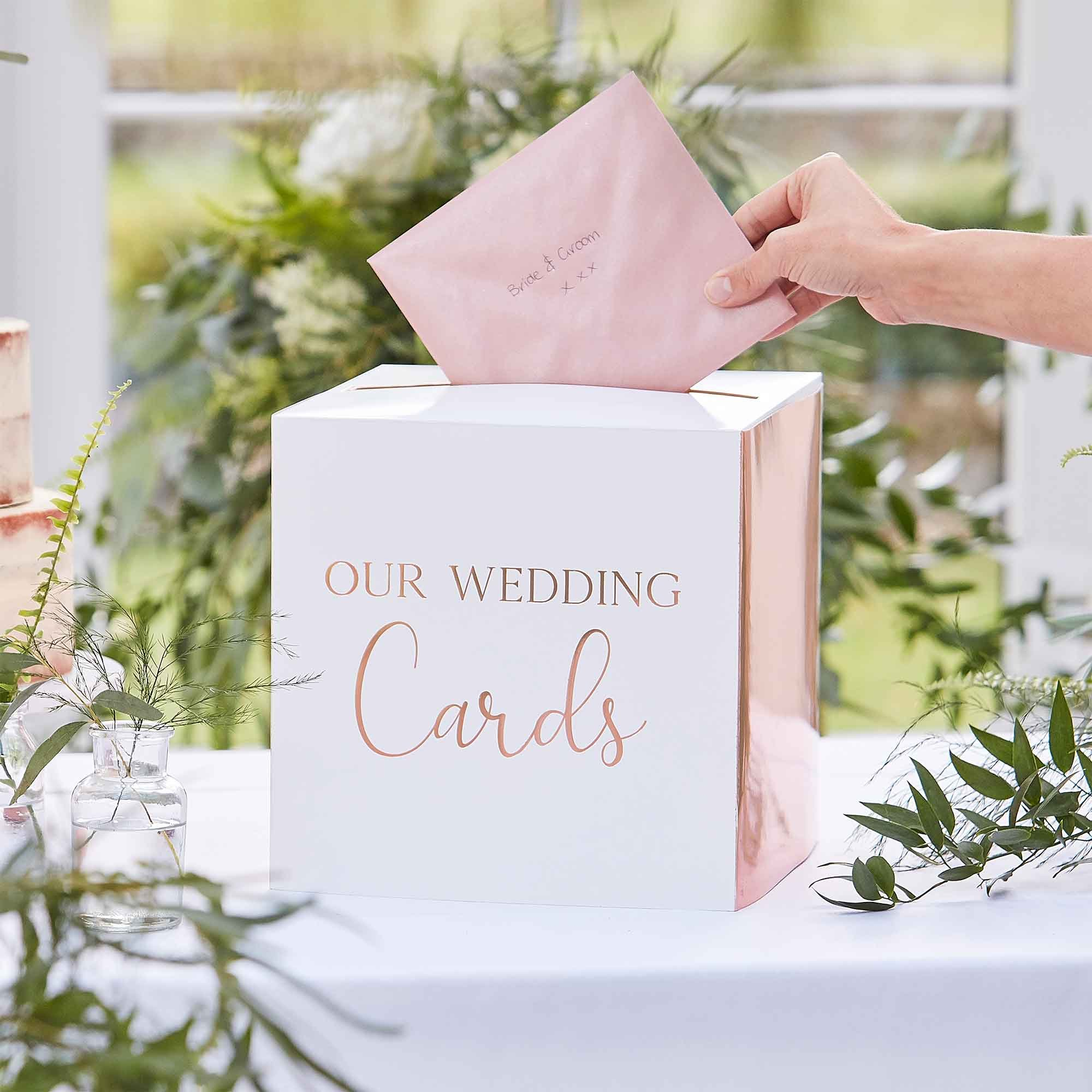 Botanical Wedding Card Box Rose Gold Text