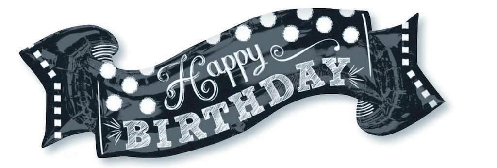 SuperShape Black & White Chalkboard Happy Birthday P35