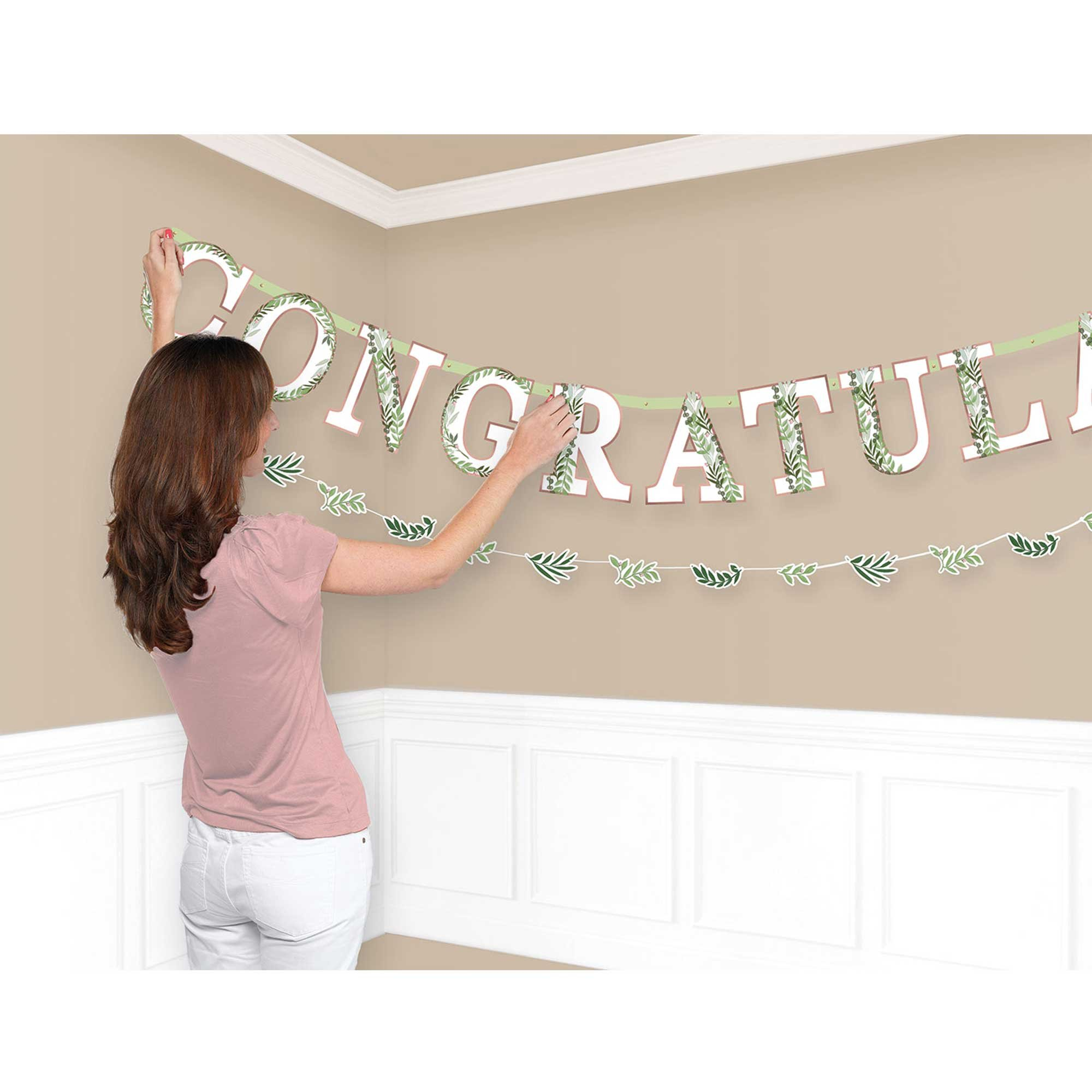 Love and Leaves Congrats Jumbo Letter Banner Kit