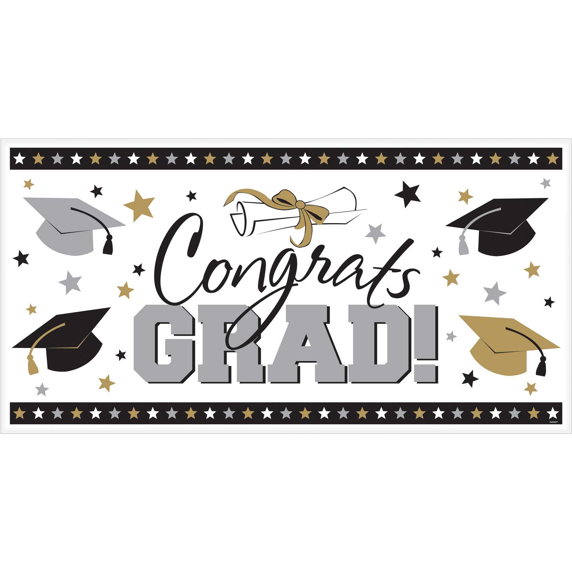 Congrats Grad Large Horizontal Banner Black, Silver & Gold