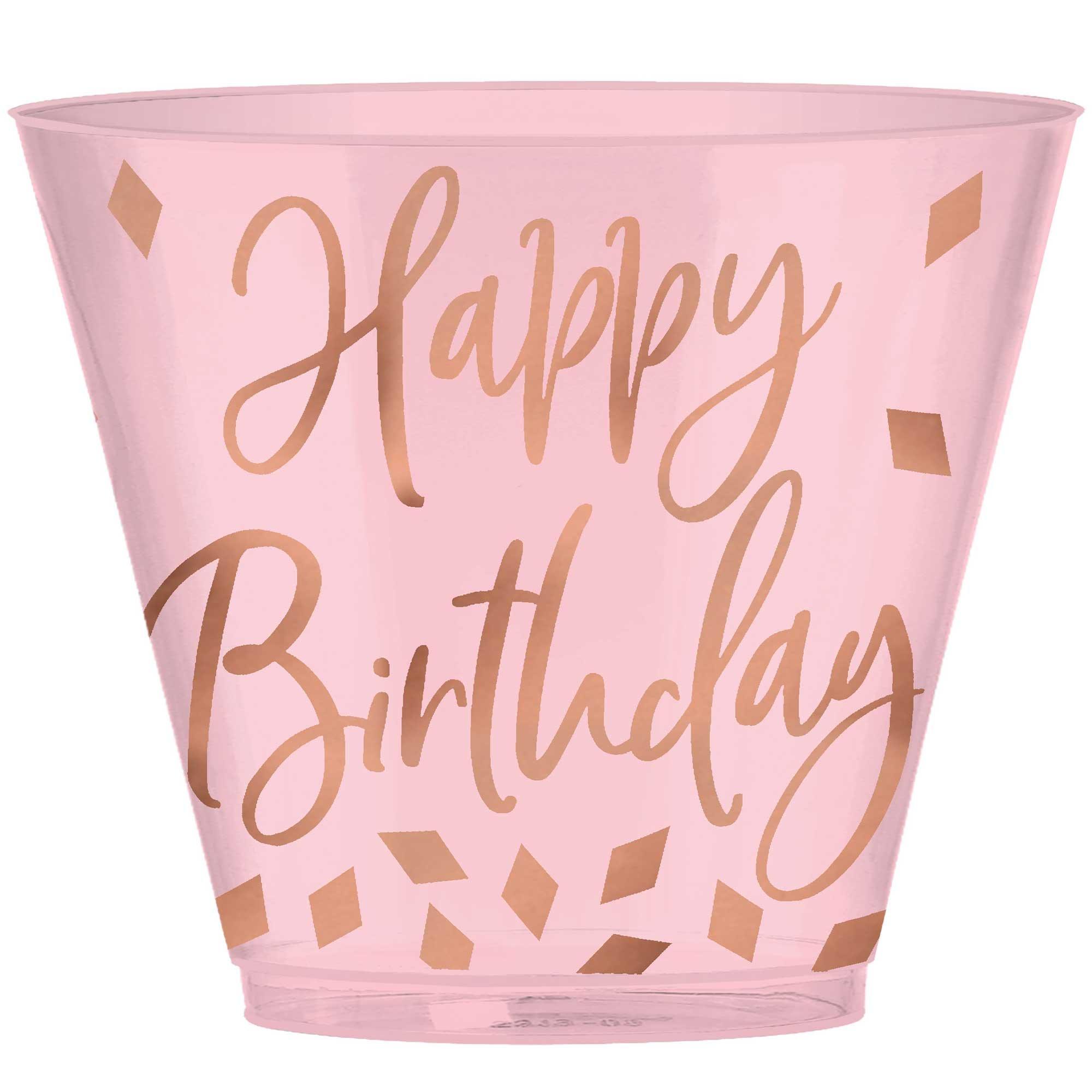 Blush Birthday Plastic Tumblers Hot-Stamped 266ml