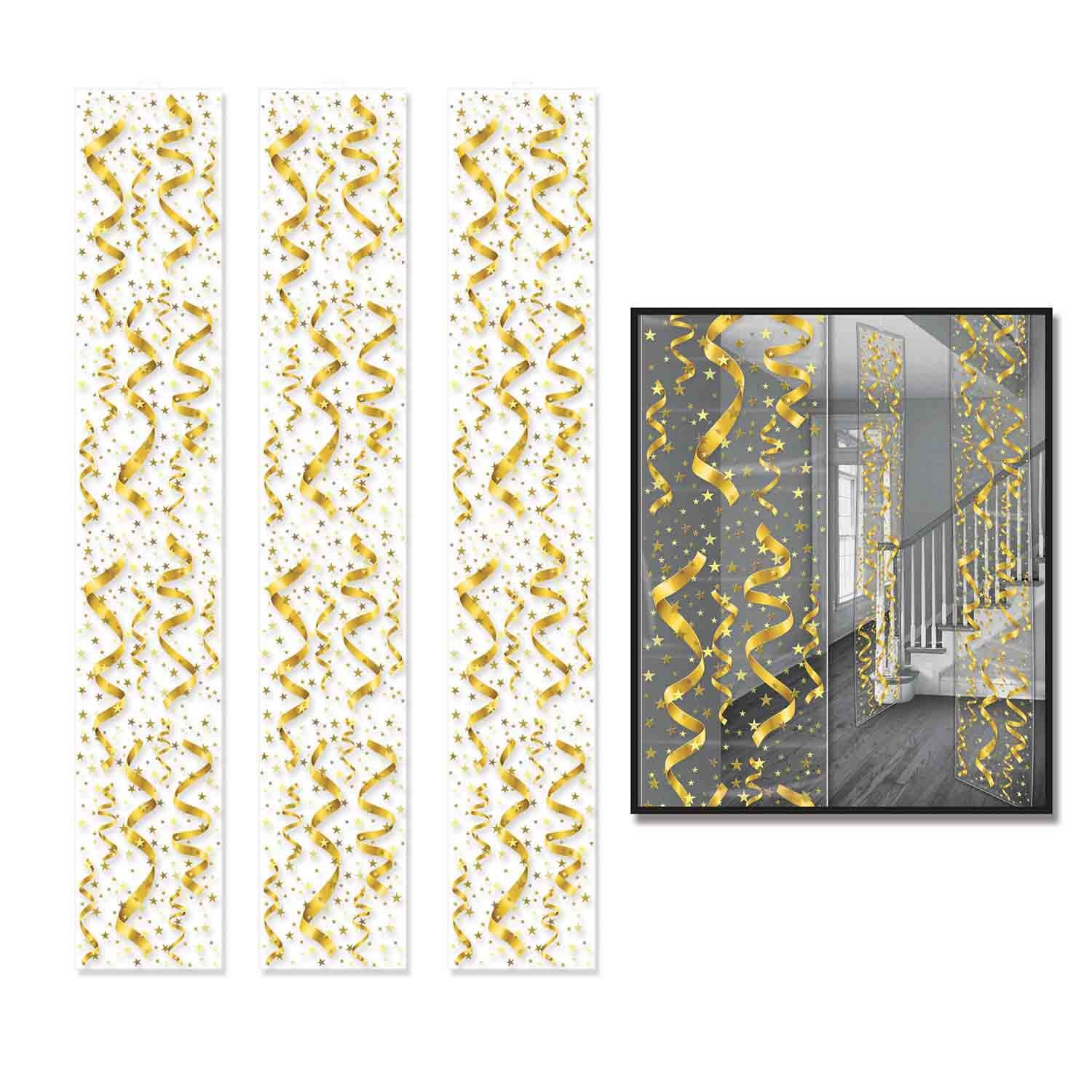 Party Panels Gold Streamers & Stars Hanging Decorations