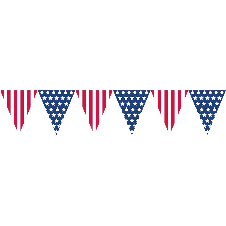 Patriotic Stars & Stripes Plastic Pennant Banner