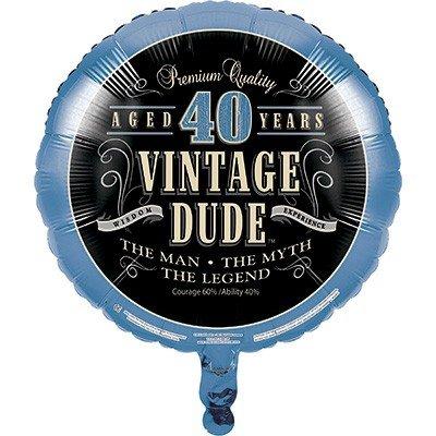 45cm Vintage Dude 40th Birthday Foil Balloon
