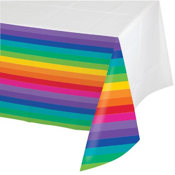 Rainbow Tablecover Plastic Border Print Plastic 137cm x 259cm