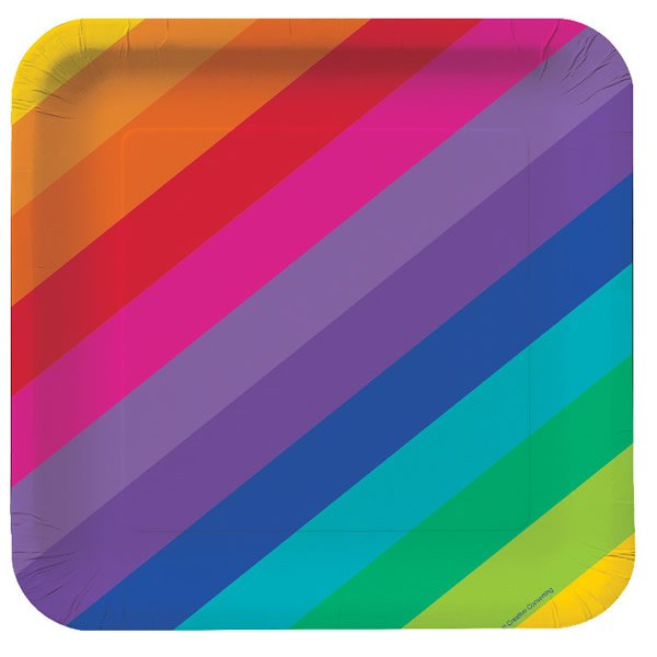 Rainbow Lunch Plates Square Paper 18cm