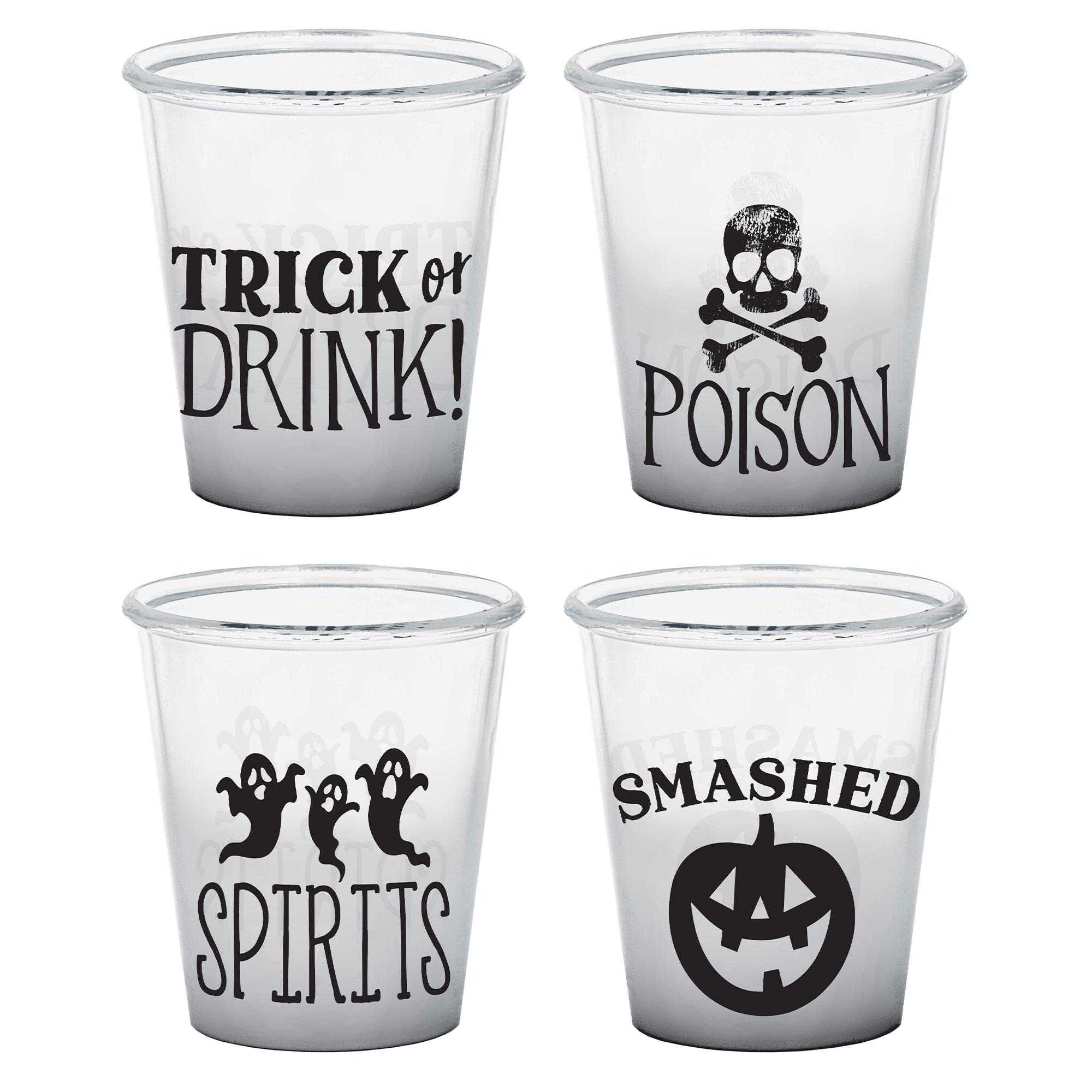 Halloween Classic Black & White Plastic Shot Glasses Assorted Designs