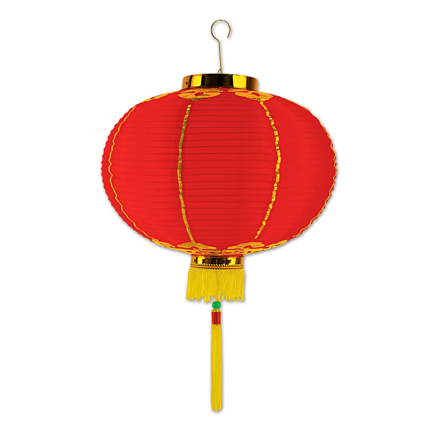 Asian Good Luck Small Lantern Red & Gold with Tassels