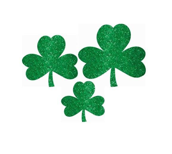St Patrick's Day Mini Assorted Glittered Shamrocks Cutouts
