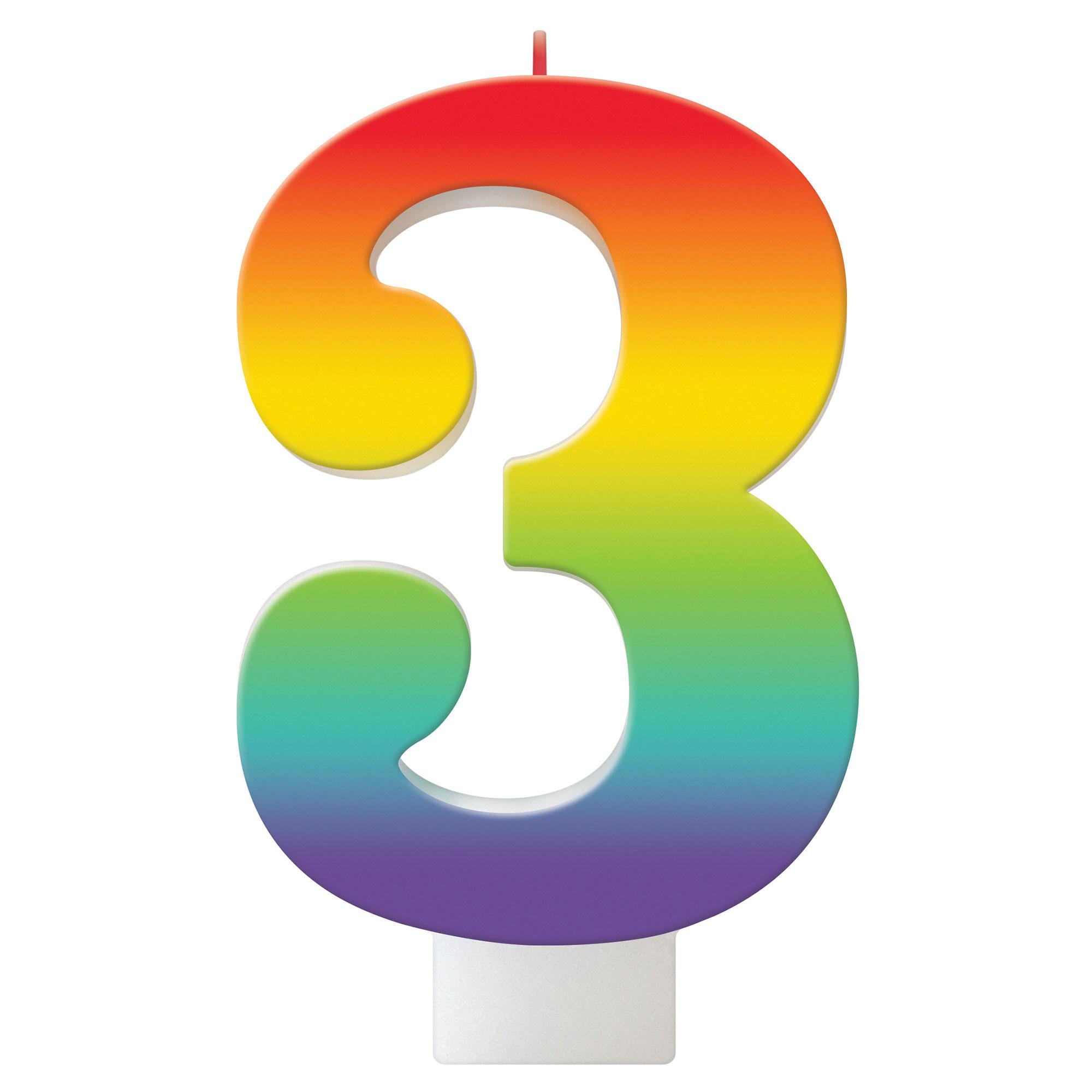 Birthday Celebration Rainbow Candle Number #3