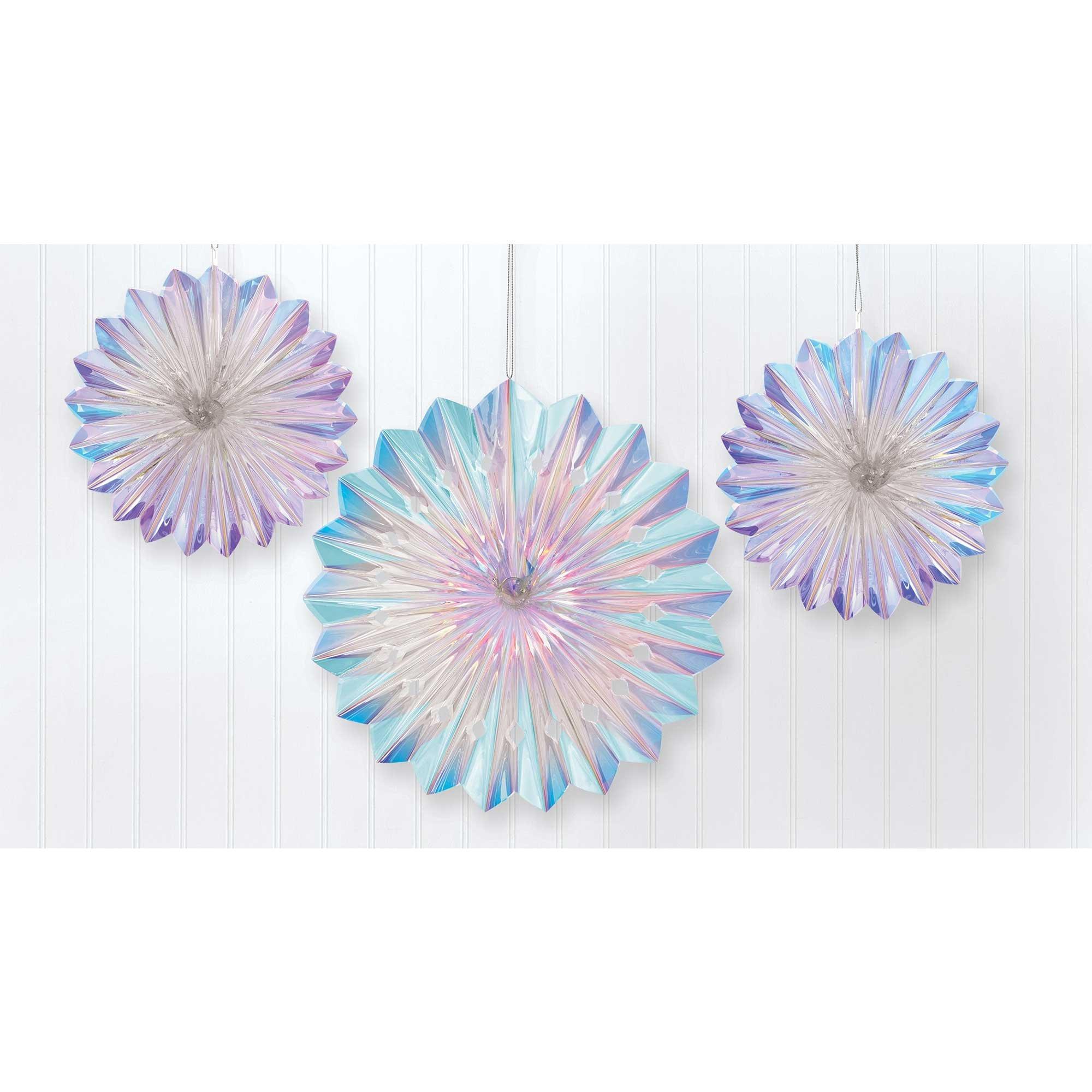 Luminous Birthday Iridescent Foil Fan Decorations