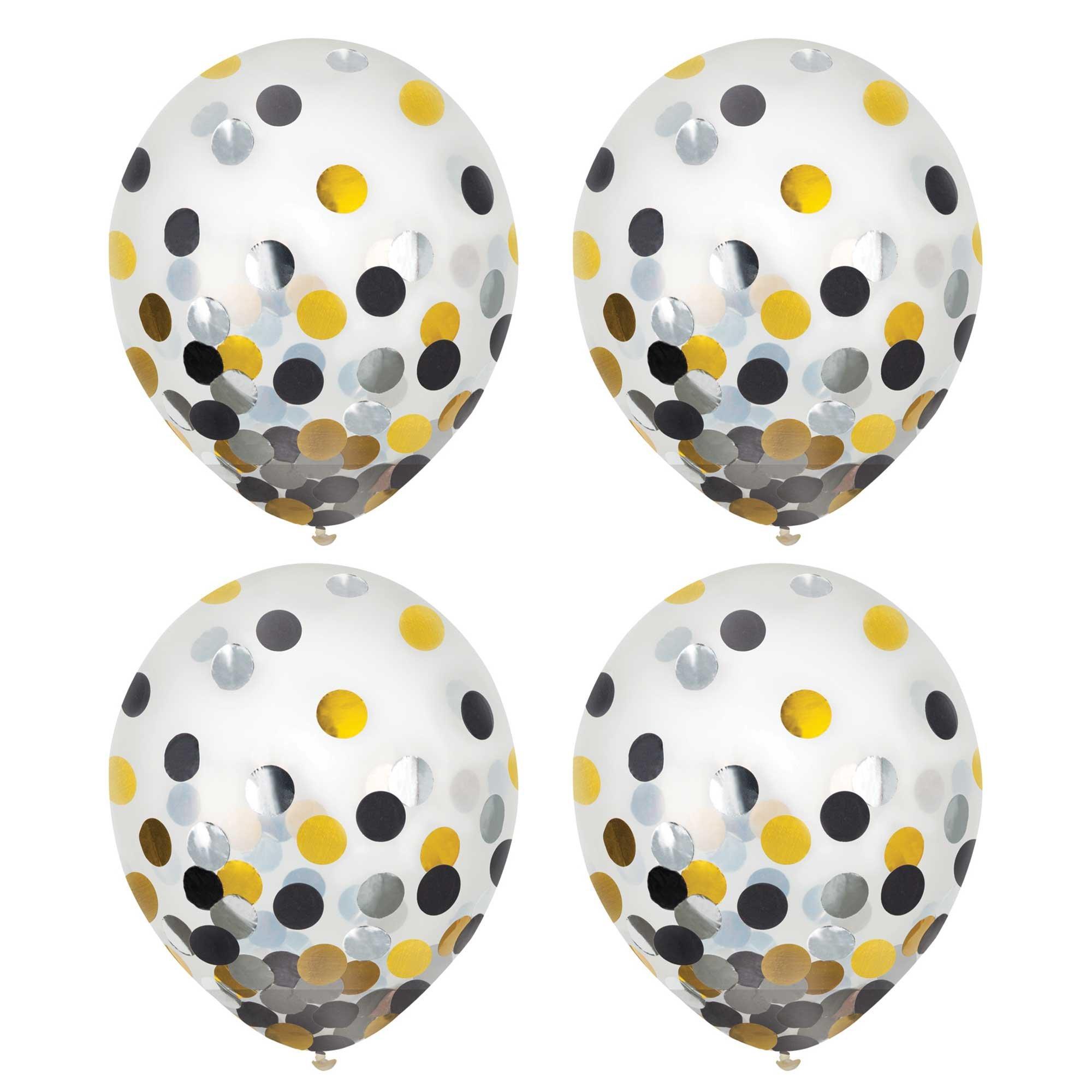Latex Balloons 30cm & Confetti Black, Silver & Gold