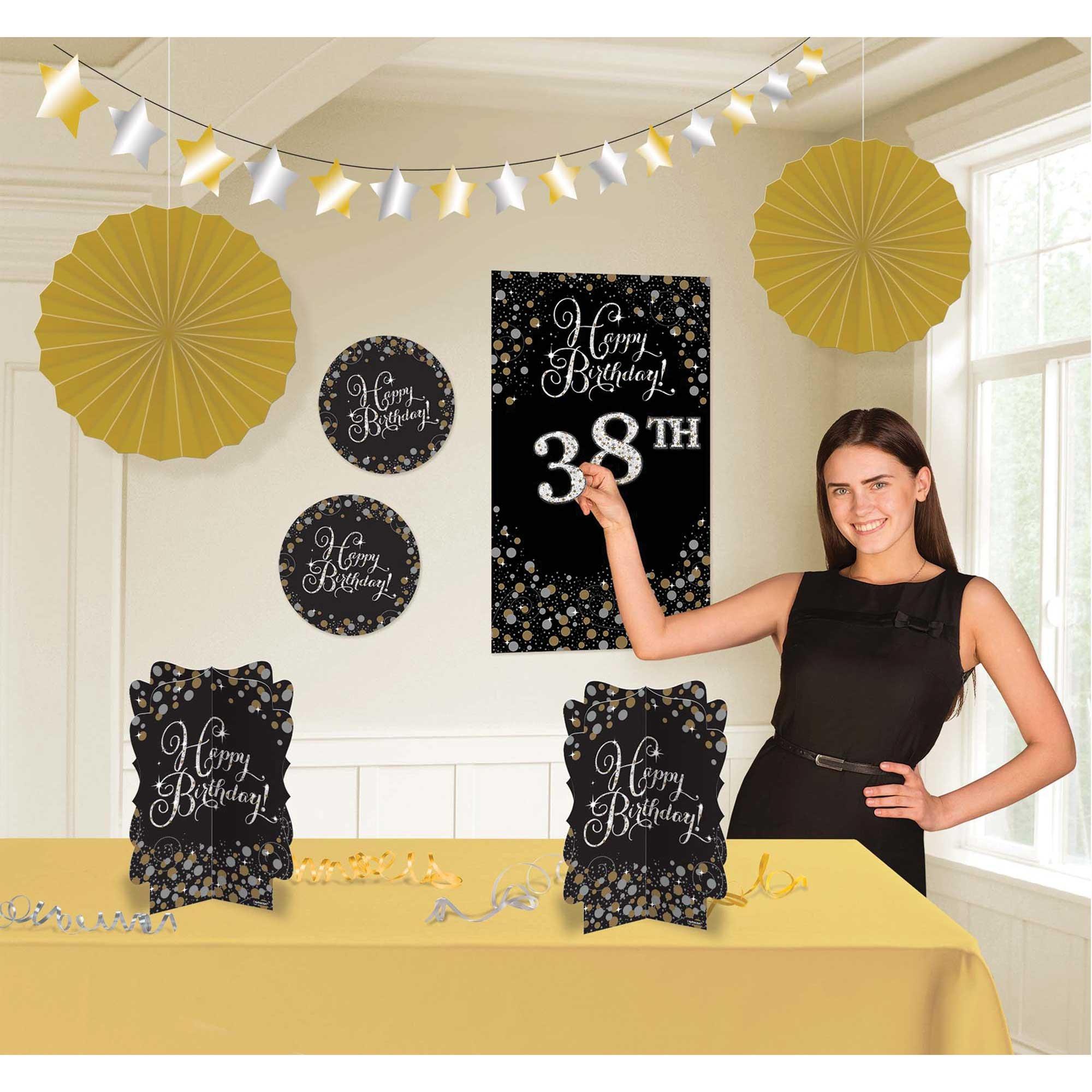 Sparkling Celebration Add Any Age Happy Birthday Room Decorating Kit