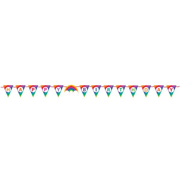 Rainbow Happy Birthday Ribbon Banner 15cm x 2.2m
