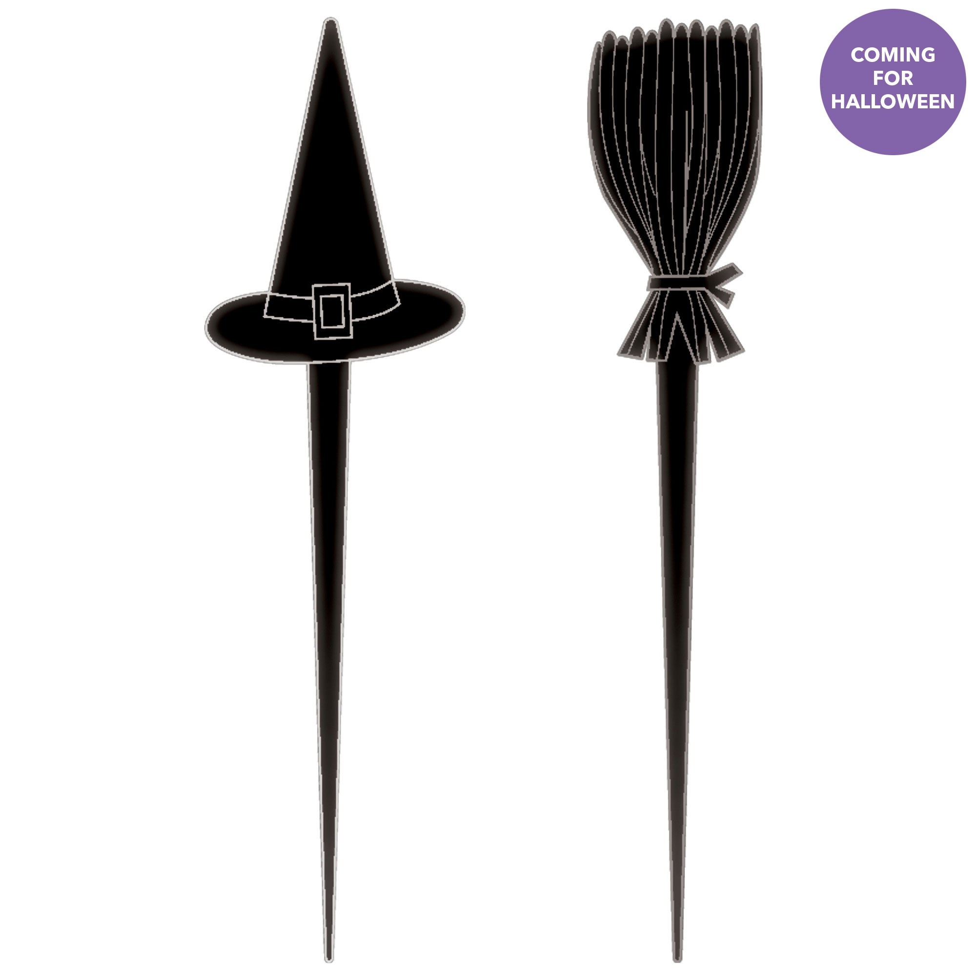 Halloween Classic Black & White Witch Hats & Brooms Picks