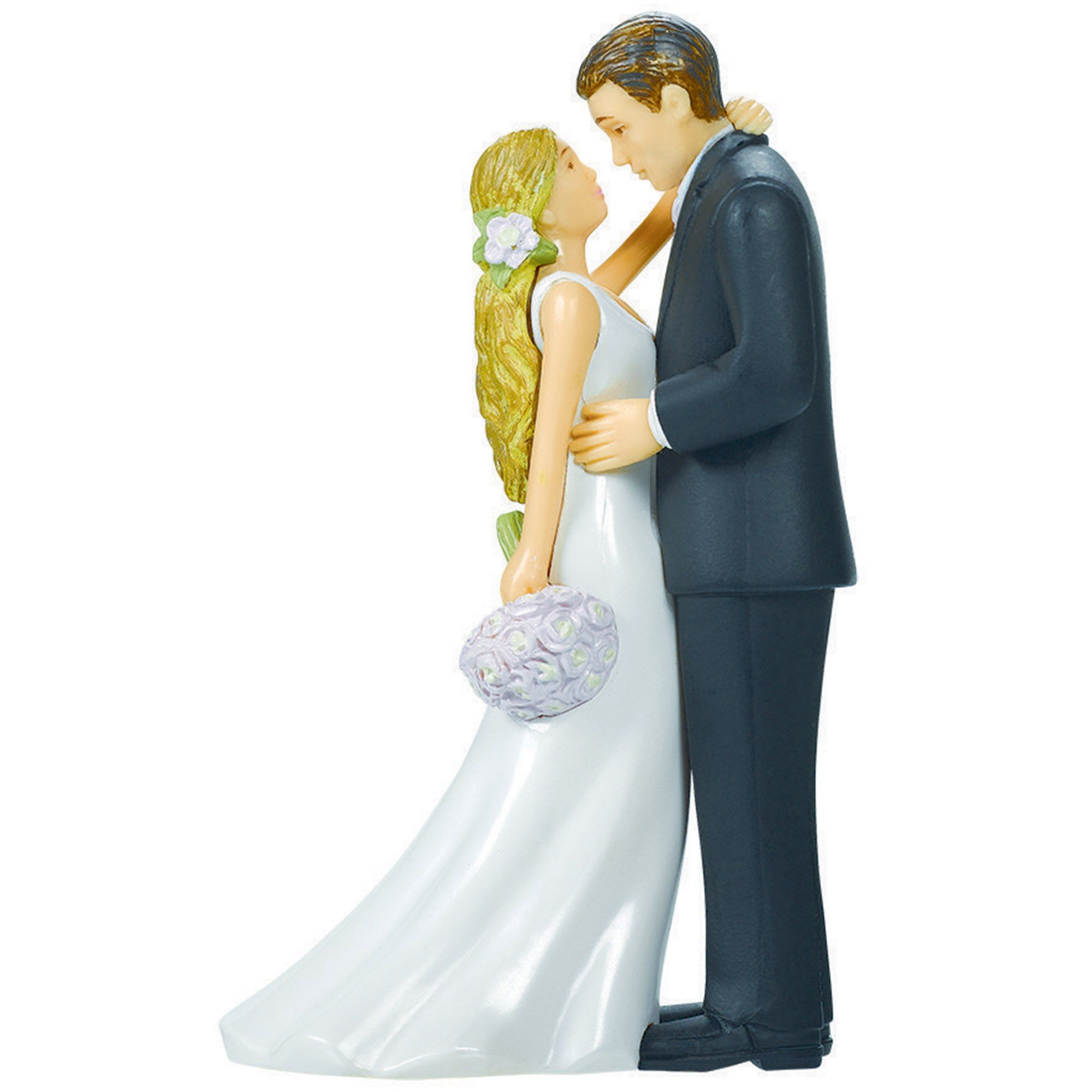 Cake Topper Bride & Groom with Bouquet Plastic
