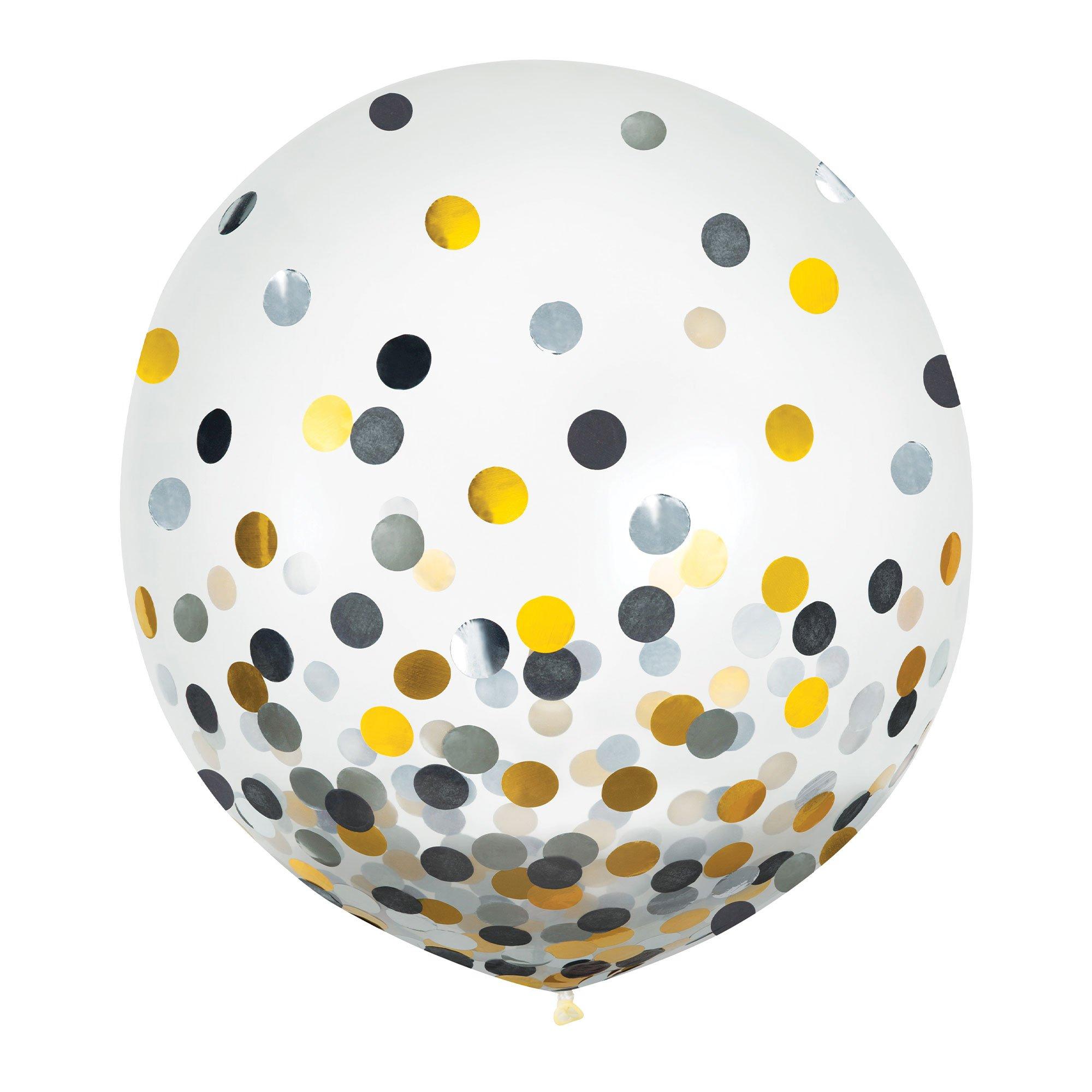 Latex Balloons 60cm & Confetti Black, Silver & Gold