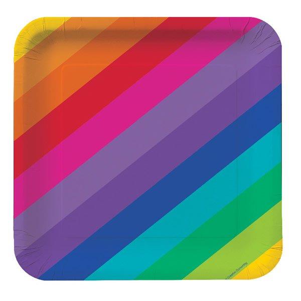 Rainbow Dinner Plates Square Paper 23cm