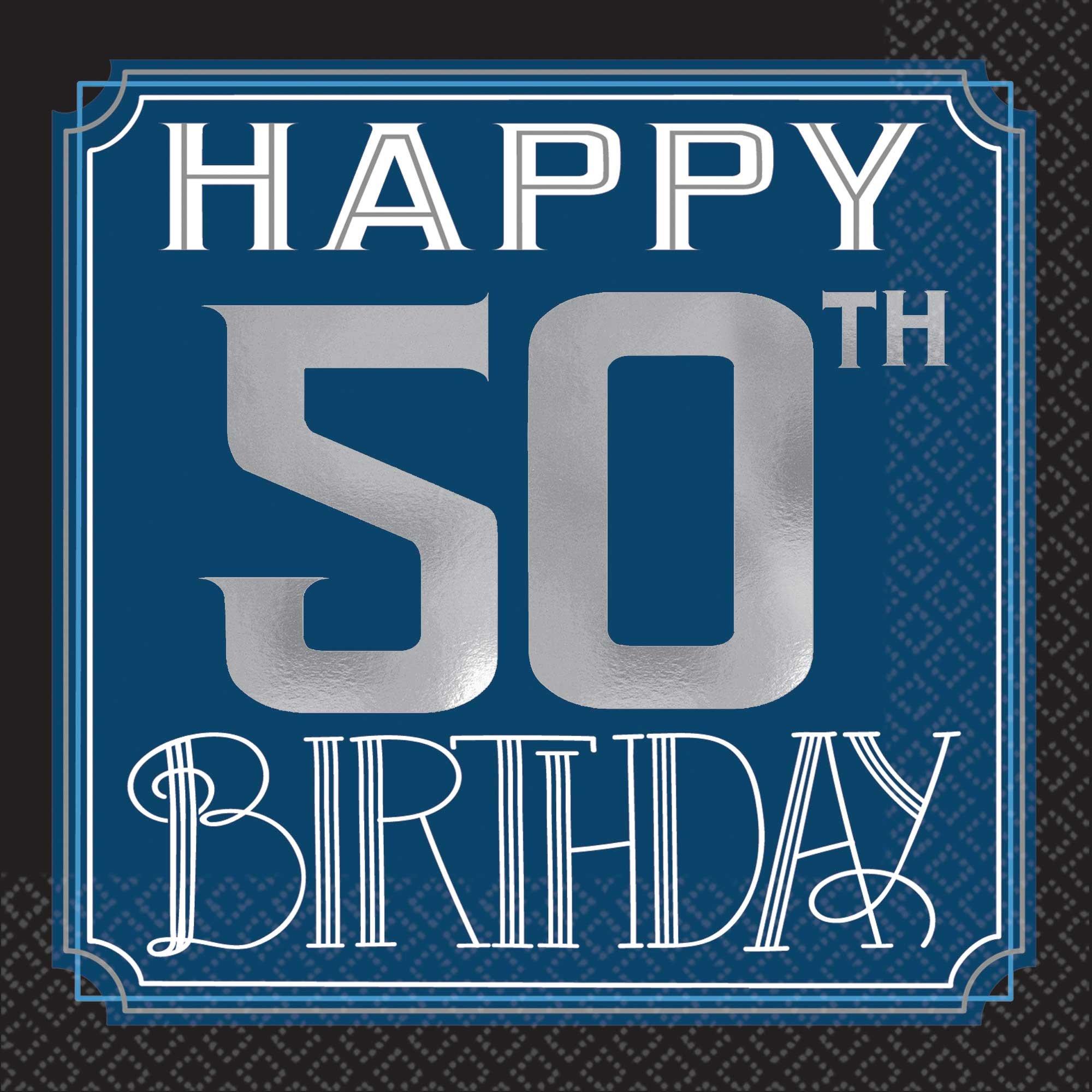 Happy 50th Birthday Man Beverage Napkins Hot Foil Stamped