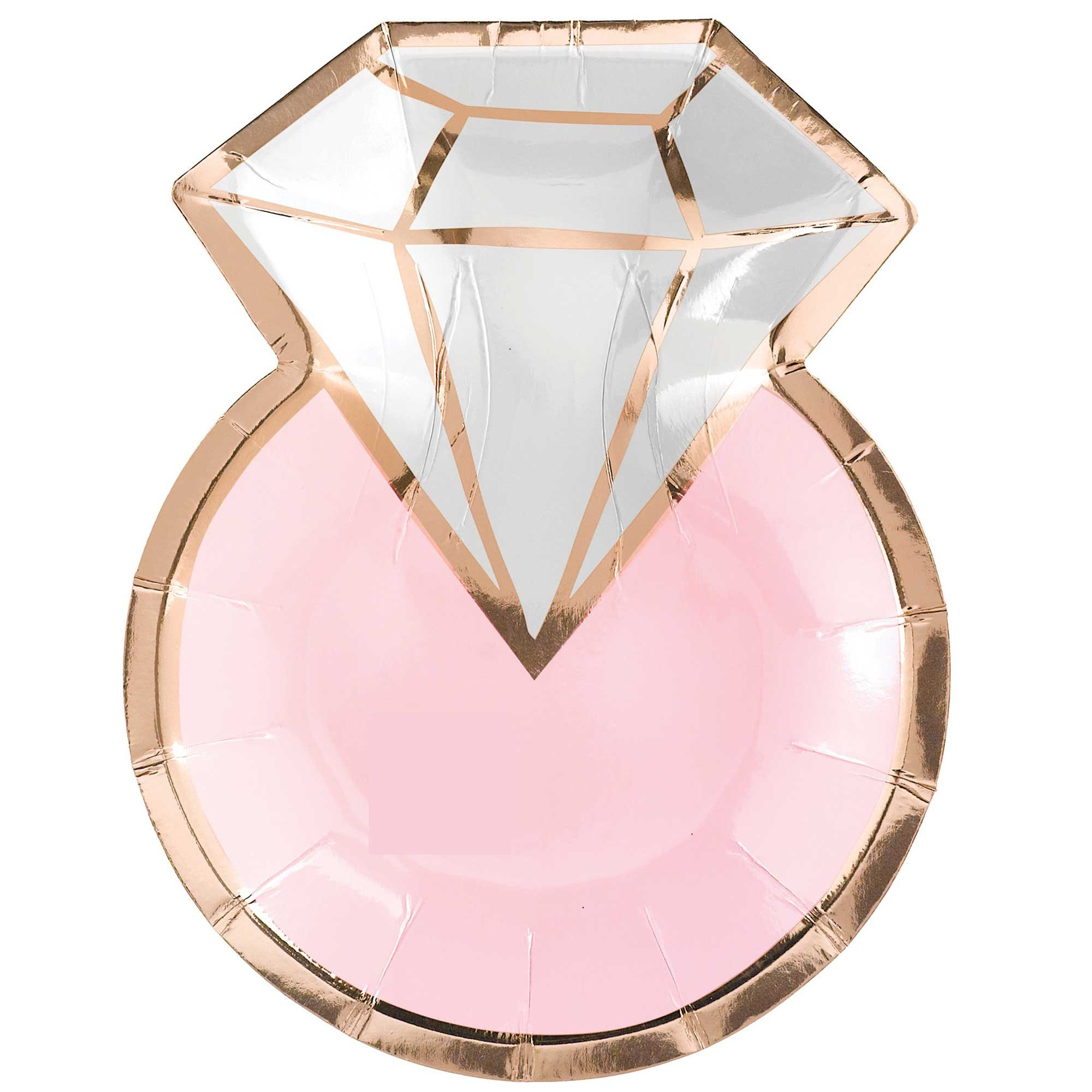 """Blush Wedding 7""""/ 17cm Metallic Shapes Plates Diamond Ring"