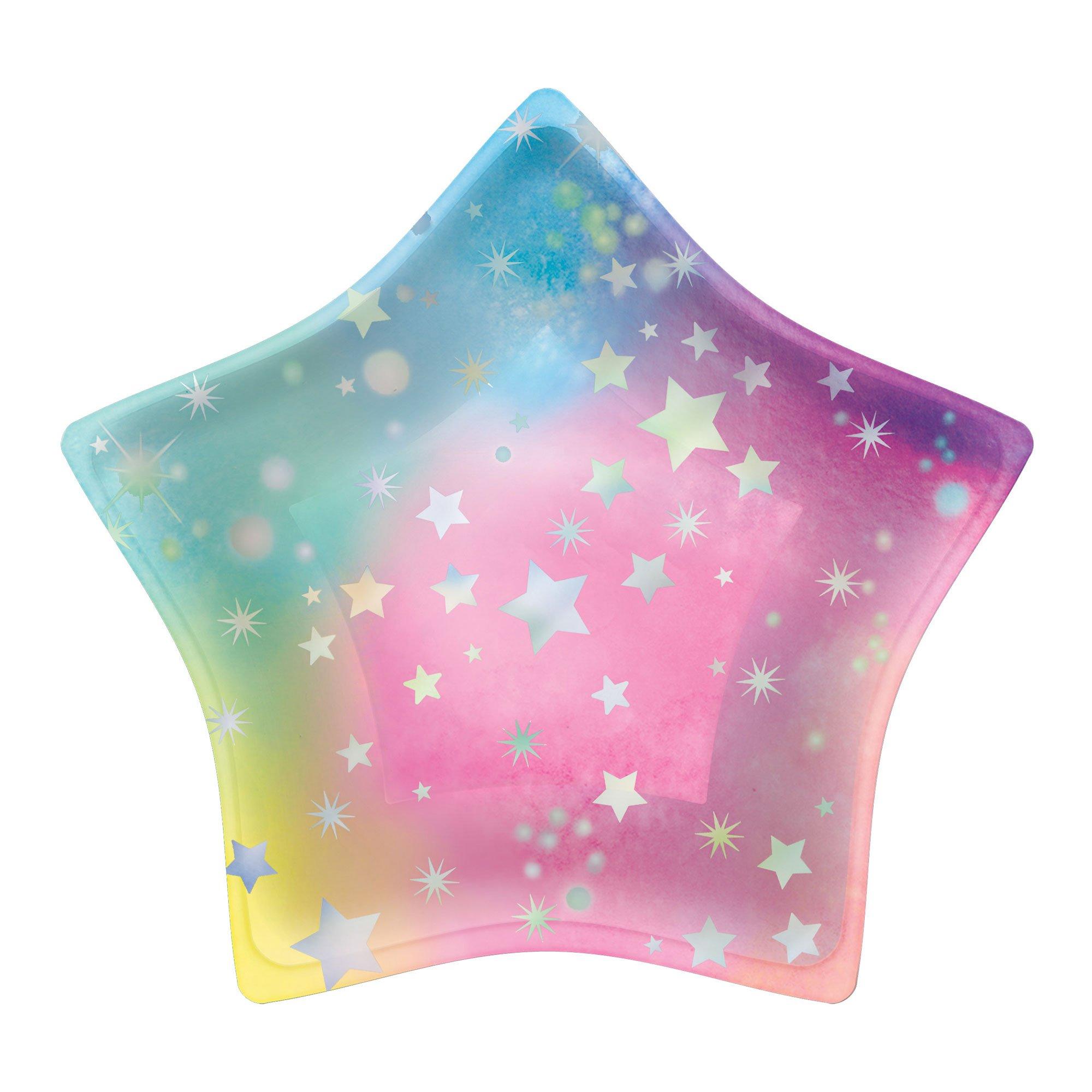 """""""Luminous Birthday Iridescent 8"""""""" / 20cm Star Shaped Paper Plates"""