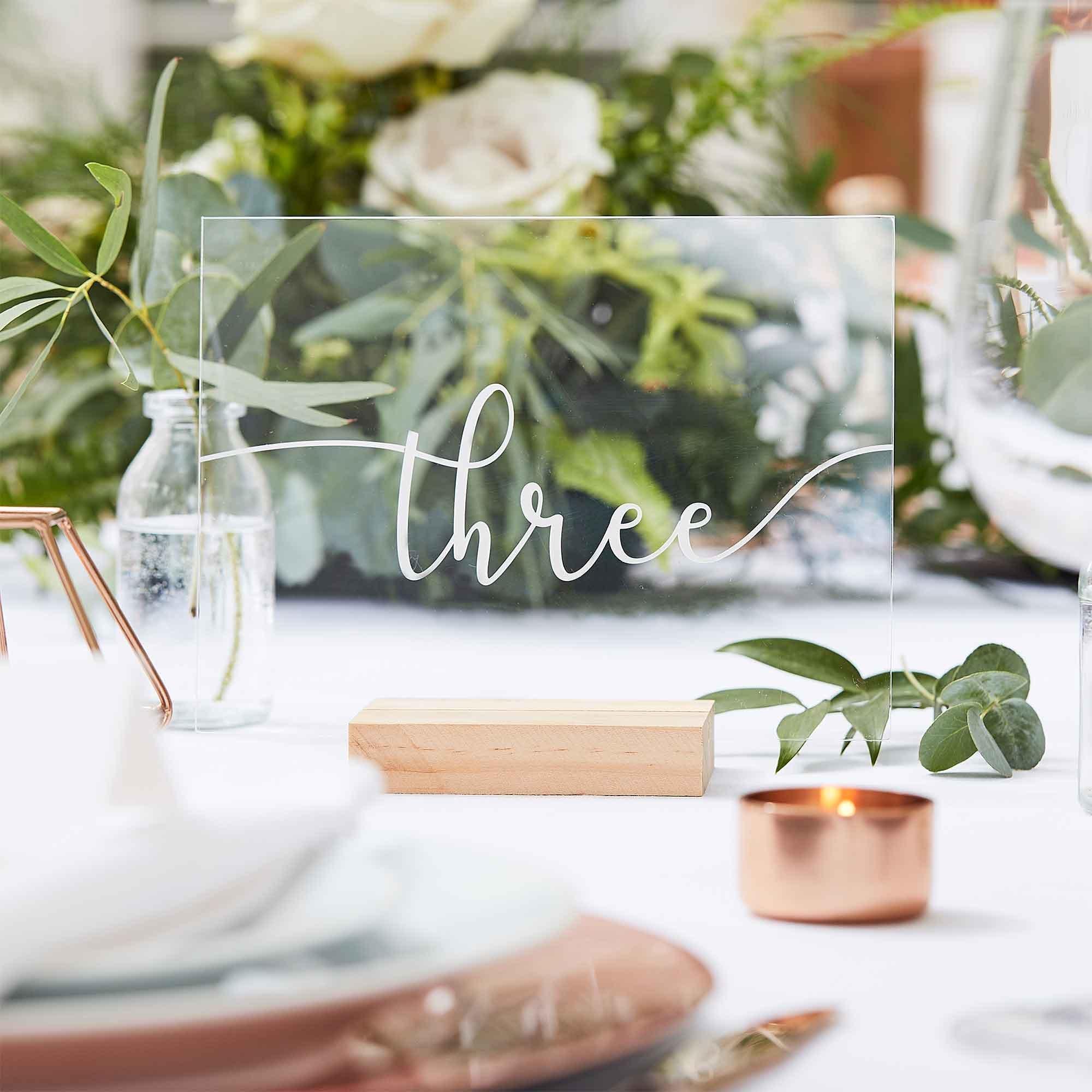 Botanical Wedding Table Numbers Wood Base & Acrylic Table Numbers