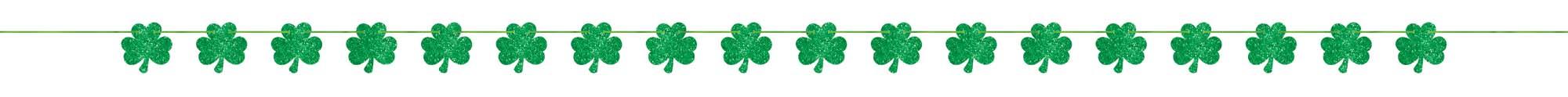 St Patrick's Day Shamrocks Glittered Banner