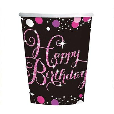 Pink Celebration Happy Birthday 266ml Cups