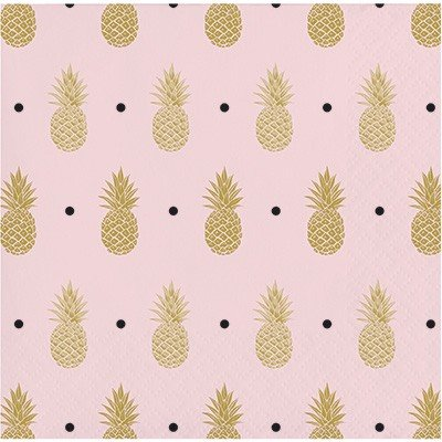 Pineapple Wedding Beverage Napkins Foil Stamped