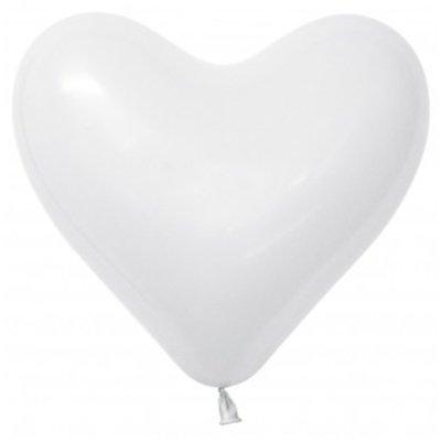 Sempertex 28cm Hearts Fashion White Latex Balloons, 12PK