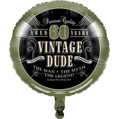 45cm Vintage Dude 60th Birthday Foil Balloon