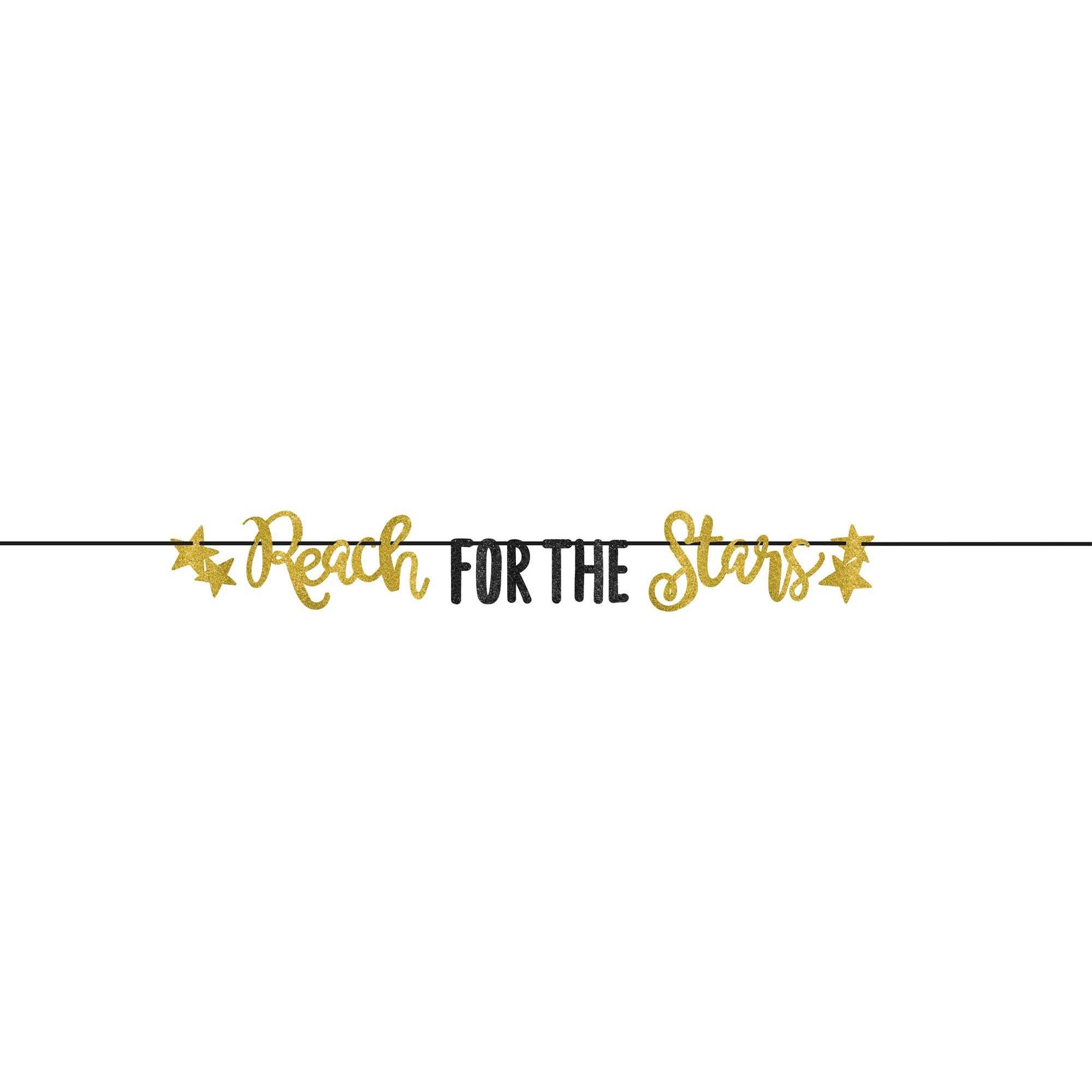 Grad Reach for the Stars Gold Glittered Letter Banner