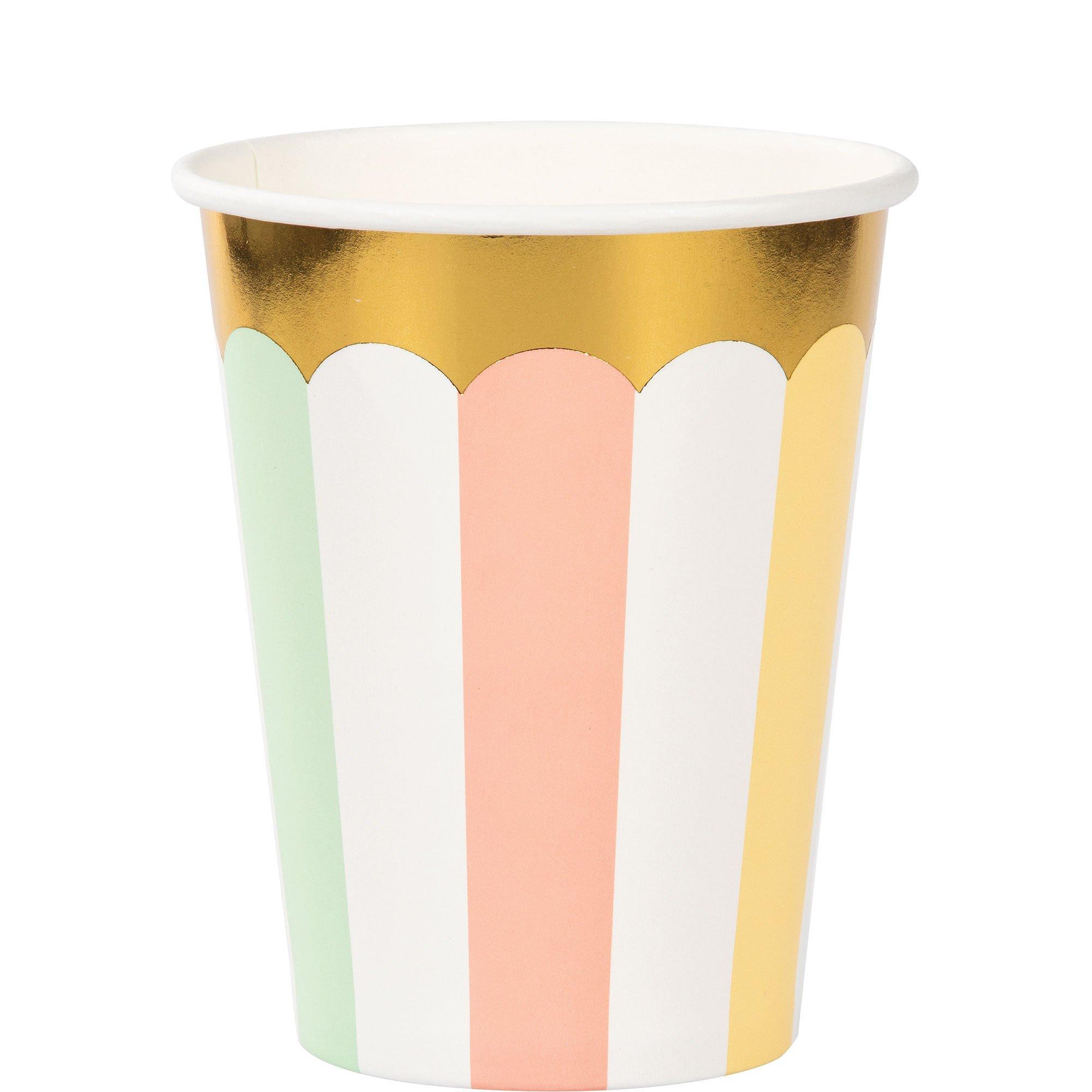 Pastel Celebrations Cups Paper & Gold Foil 266ml
