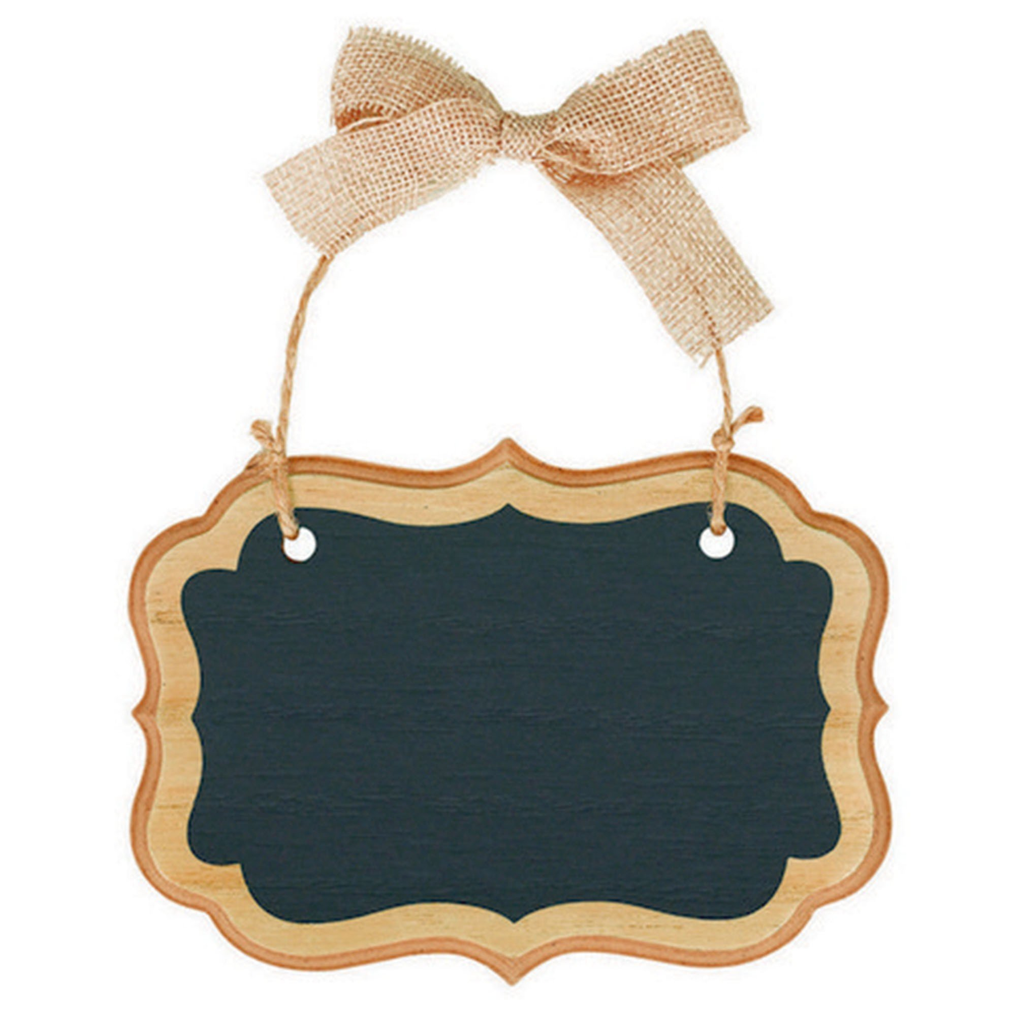Chalkboard Sign MDF Small Marquee Sign - Natural & Twine Bow Hanger