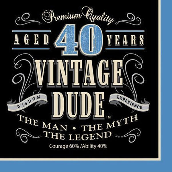 Vintage Dude 40th Birthday Lunch Napkins