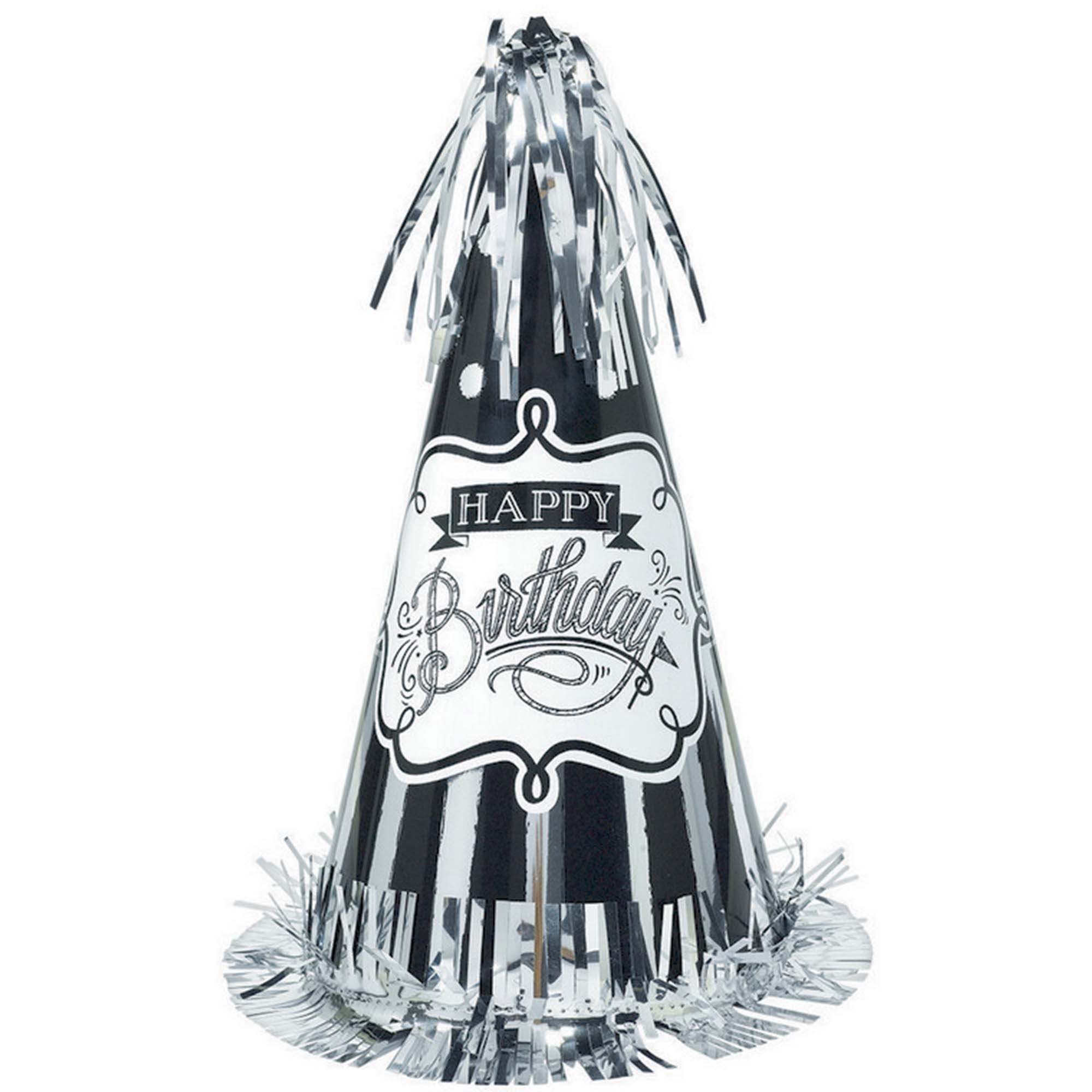 Chalkboard Birthday Large Cone Hat with Foil Fringe
