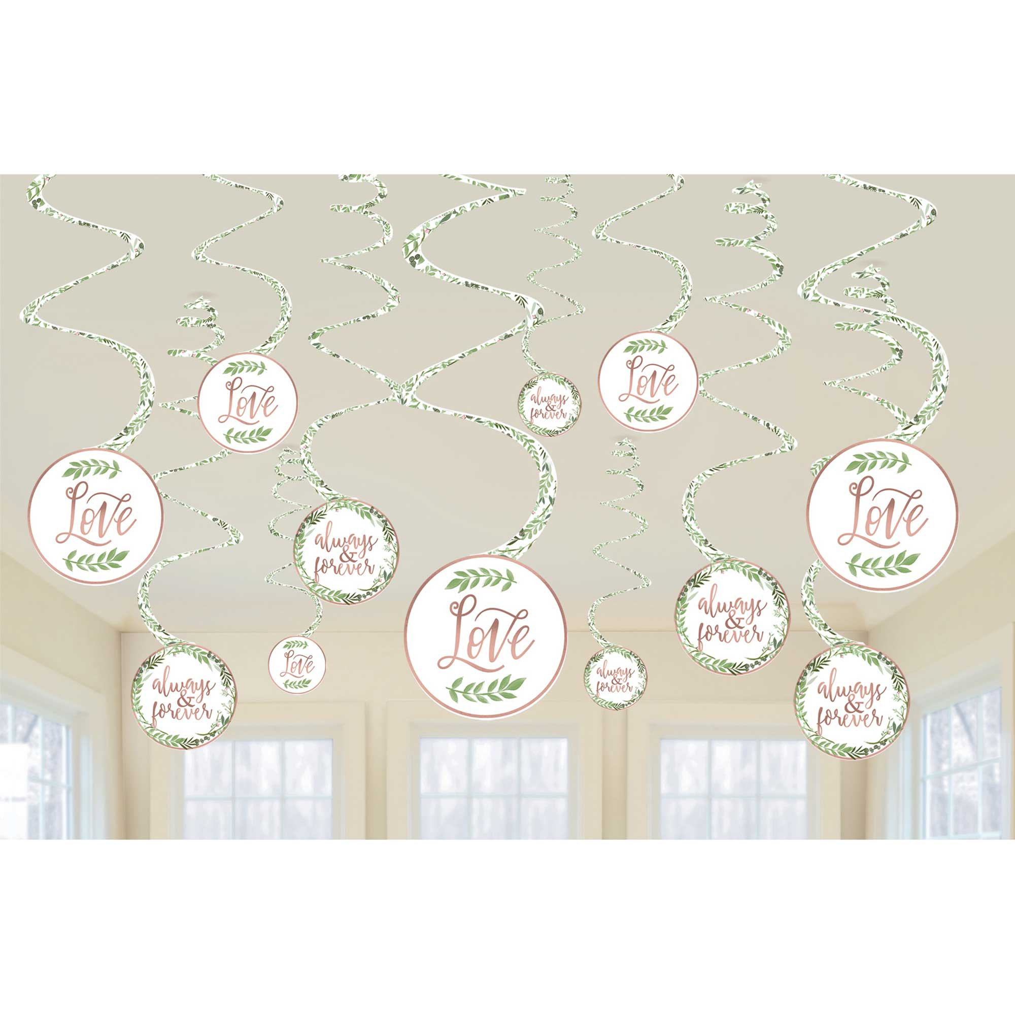 Love and Leaves Hanging Spiral Decorations Value Pack