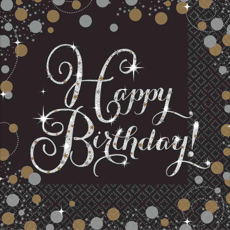Sparkling Celebration Happy Birthday Beverage Napkins