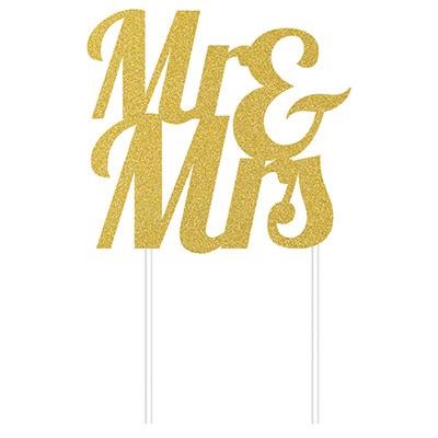 Cake Topper Mr & Mrs Gold Glittered