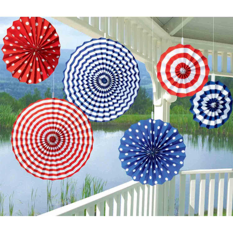 Patriotic Summer Paper Fan Decorations