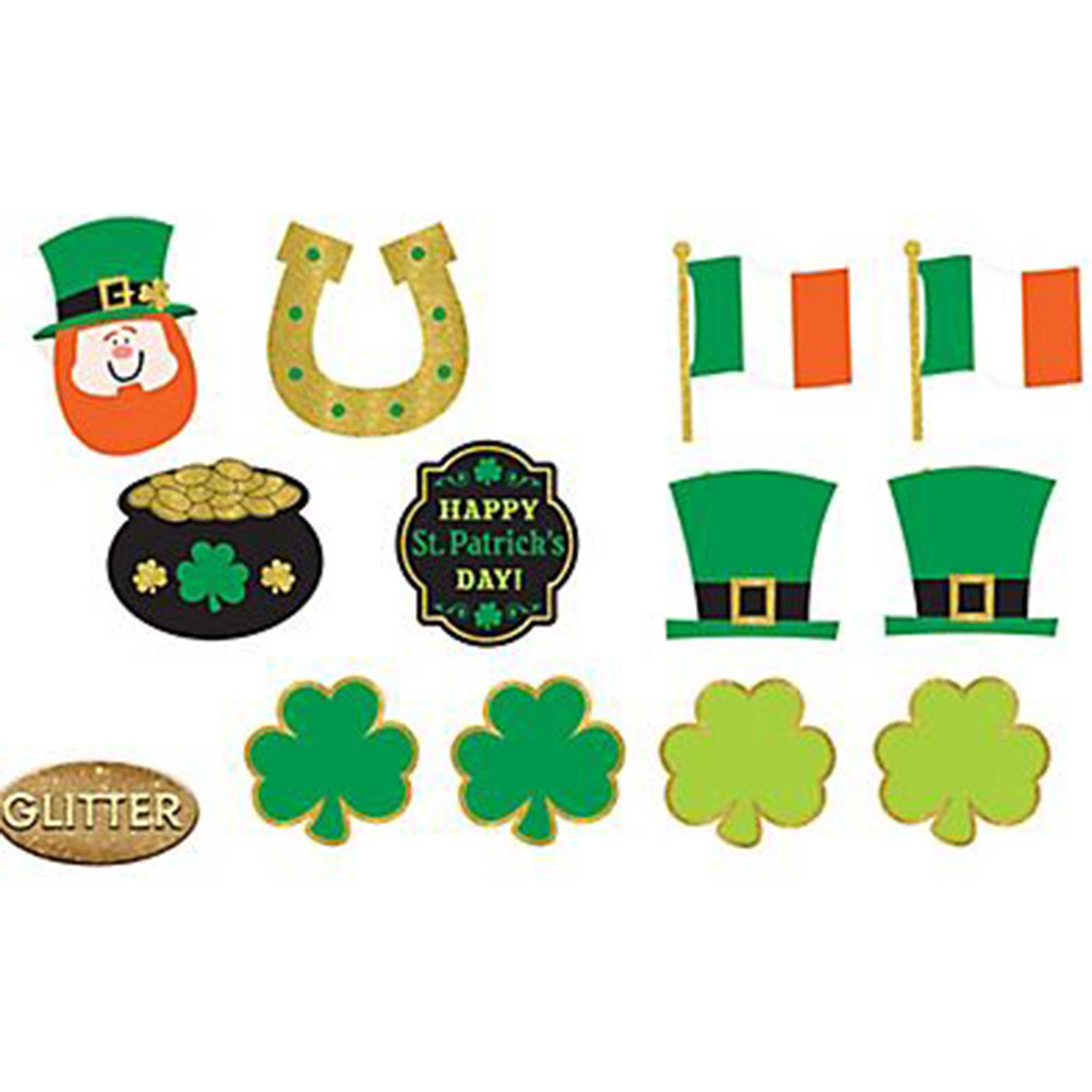 Happy St Patrick's Day Assorted Glittered Cutouts