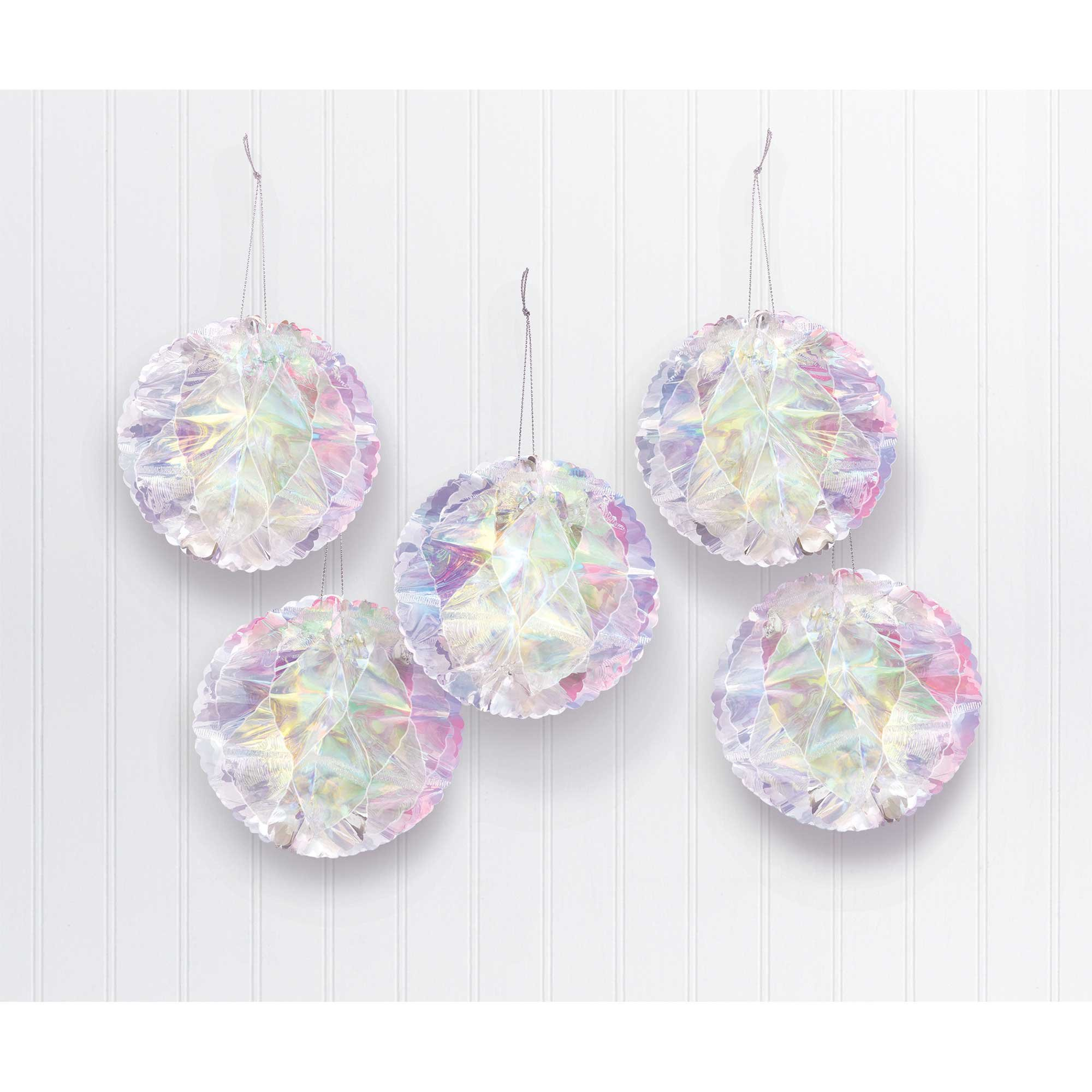 Luminous Birthday Iridescent Foil Honeycomb Balls Hanging Decorations