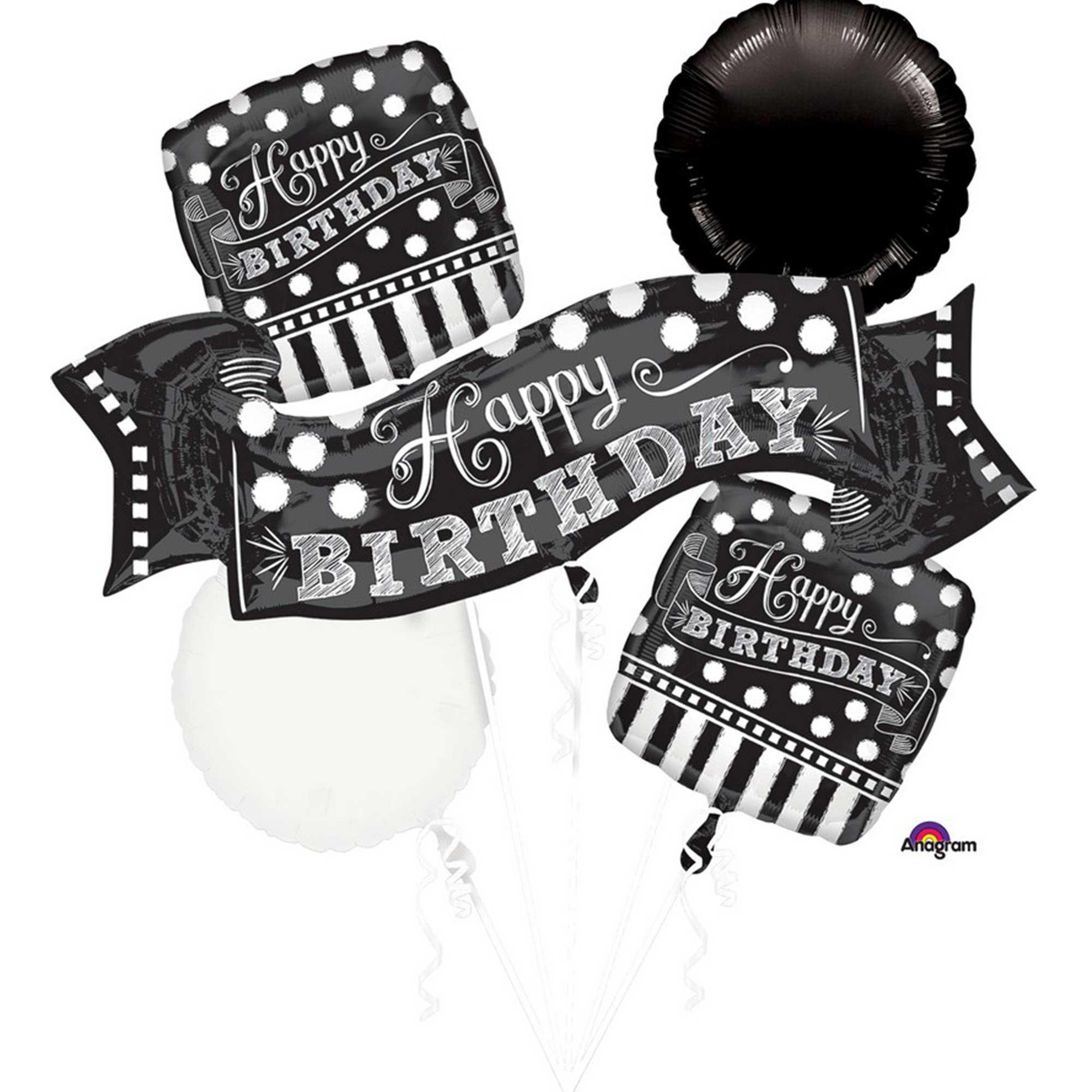 Bouquet Black & White Chalkboard Birthday P75