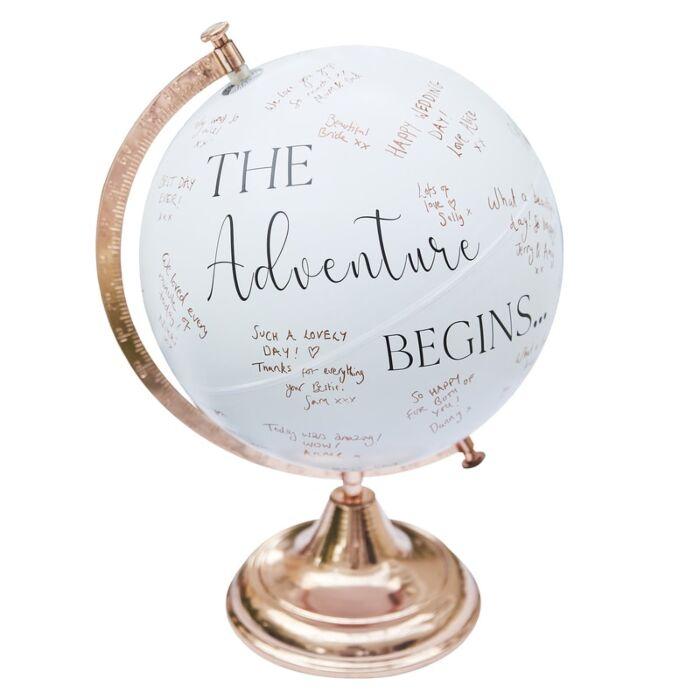 Botanical Wedding Guest Book Globe